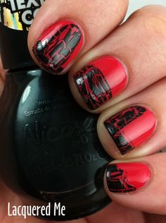 u dont necessarily have to paint the ENTIRE nail :] -- This is an absolutely delightful idea! Nails Only, Love Nails, Fun Nails, Pretty Nails, Gel Nail Art, Nail Polish, Crackle Nails, Nail Mania, Gothic Nails