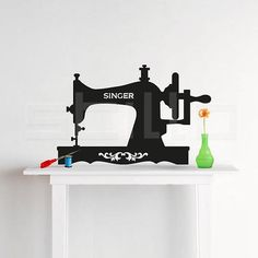 Adesivo Máquina de Costura Antiga