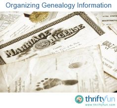 This is a guide about organizing genealogy information.  Researching your genealogy can be a fun and rewarding experience. Organizing the information you collect is important to preserve your hard work.