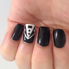 Black and White, Suit and Tie Accent Nail