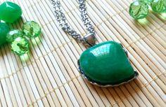 Ágata Verde com corrente de aço! #vemficarbonita #trevodamoda #bijuterias