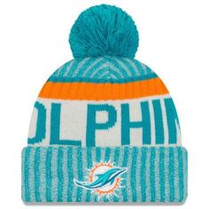 5869fb7478f Miami Dolphins New Era 2017 Sideline Official Sport Knit Hat - Aqua