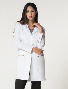 Discover Jaanuu's lab coats for medical outfits. Shop Jaanuu for contemporary medical apparel including scrubs, lab coats and more. Medical Uniforms, Work Uniforms, Foto Doctor, White Lab Coat, Lab Coats, Female Doctor, Woman Doctor, Nursing Clothes, Womens Fashion For Work
