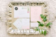 Lovely chic and rustic pink invitations. | Photo by Mustard Seed Photography