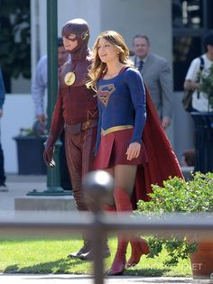 The Flash on the Supergirl Set