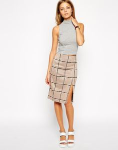 ASOS | ASOS Pencil Skirt in Check with Split Front at ASOS