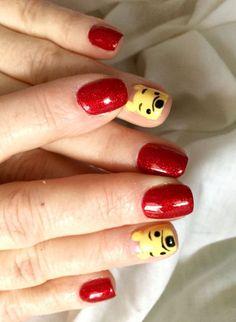 Winnie The Pooh nail art? the little pooh bear faces are so adorable Disney Nail Designs, Girls Nail Designs, Cute Nail Designs, Disney Acrylic Nails, Disney Nails, Cute Acrylic Nails, Cute Nail Art, Cute Nails, Pretty Nails