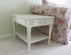 vintage white shabby chic side table/ end table/ by missrobinsnest, $120.00