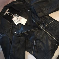 LEATHER BIKER JACKET Brand new with tags!  Size XS  Composition  Outer Shell  100% SHEEP LEATHER  Lining  BODY LINING: 100% COTTON  SLEEVE LINING: 100% POLYESTER Zara Jackets & Coats