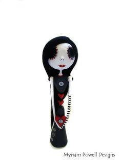 Goth Art Doll  Goth Decor  Skeleton Doll  by MyriamPowellDesigns, $100.00