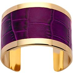 Aspinal of London Empress Cuff Bracelet, Purple Croc ❤ liked on Polyvore