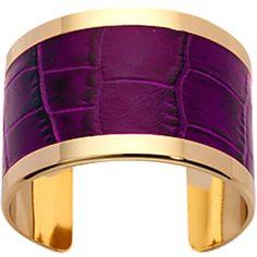 Aspinal of London Empress Cuff Bracelet, Purple Croc ❤ liked on Polyvore
