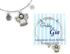 Expandable Adjustable Bangle Charm Bracelet silver angel faith heart great gift