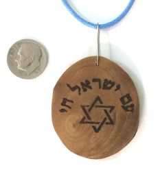 Israeli Olive wood art pendant necklace by JudaicaBennysArt