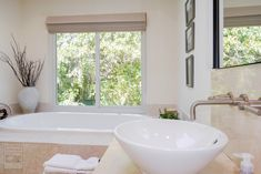 Gorgeous master bathroom where we installed this new sliding window over a fantastic bathtub . Home Remodeling / Renovations / Home Improvements / Replacement window from Renewal by Andersen Long Island Window Replacement, Windows, Remodeling Renovation, Remodel, Home Remodeling, Window Installation, Modern Bathroom, Renovations, Slider Window