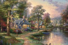 "Thomas Kinkade painted ""Hometown Lake"" for his daughter Everett. He added the cats and dogs on the lawn for her, and included her birthday on the boat in the water. This painting also features the church that Thom included in all of the images in his ""Hometown Memories"" series."