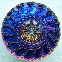 Czech glass button Carved Midnight Sun fire blue XL x1