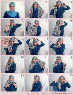 creative hijab tutorial i love it!!! sigh! i wish i could do it