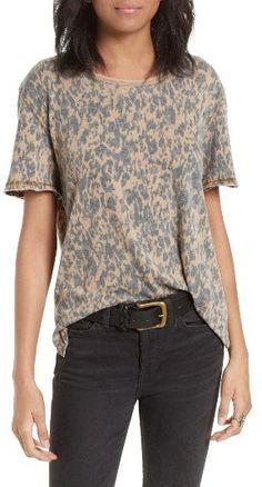 Brown faded camo print tee shirt. Women's Free People Army Tee