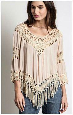 Umgee Brand Beige Crochet Top