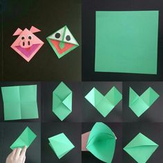 Leuke boekenlegger Erg leuk om te maken Green Crafts For Kids, Valentine Crafts For Kids, Art For Kids, Diy Origami, Origami Tutorial, Oragami, Creative Arts And Crafts, Diy And Crafts, Book Crafts