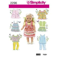 """Simplicity Pattern 2296 Clothes for 18"""" Doll"""