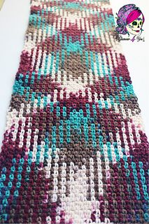 Planned Pooling Argyle Scarf - Free Crochet Pattern / Technique ( color pool / pooling )