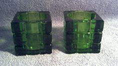 "2 cubed glass candle holders.....green....2 1/2"" tall picclick.com"