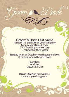 Wedding / Vow Renewal Invitation - I Design, You Print - Digital File Design. $15.00, via Etsy. Replace the green with orange and it'd be perfect (and no birds)