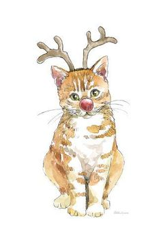 Whimsical Watercolor Painting - Christmas Kitties IIi by Beth Grove Christmas Drawing, Christmas Paintings, Christmas Cats, Xmas, Square Canvas, Pictures To Paint, Egg Pictures, Dog Paintings, Christmas Illustration