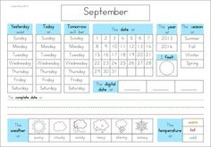Calendar and Weather Journal. Great morning routine packet for kindergarten and first grade students! A page from the unit: daily recording page - yesterday/today/tomorrow, date, year, season, digital & complete dates, weather, temperature and how I feel.