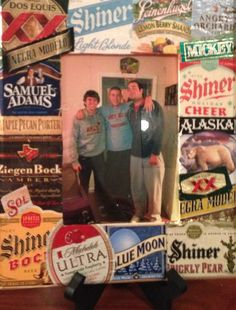 5 dollar wood frame from hobby lobby & mod podge beer labels on. #tsm #tfm #diy #crafts