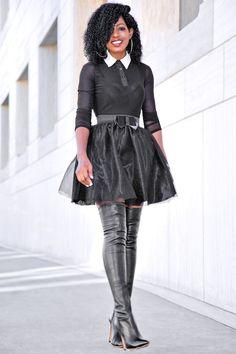 Walmart Holiday Look: Embellished Collar Mesh Blouse + Bow Organza Skirt