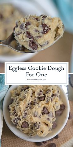 Eggless Cookie Dough - Edible Chocolate Chip Cookie Dough for ONE! Single Serving Chocolate Chip Cookie Dough is an edible cookie dough recipe that is eggless and makes just enough for one person. Edible Cookie Dough Recipe For One, Cookie Dough For One, Healthy Cookie Dough, Edible Cookies, Cookie Dough Recipes, Cake Cookies, Cookie In A Mug, Eggless Sugar Cookie Dough Recipe, Mug Cookie Dough