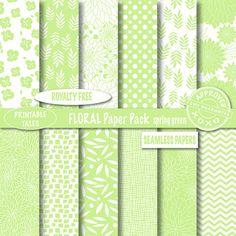 Royalty Free Floral Digital Papers Spring Green by PrintableTales