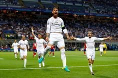 Sergio Ramos of Real Madrid celebrates after scoiring the opening goal during…
