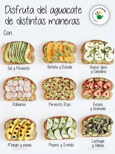 Tasty Takes on Avocado Toast - in case you needed more reasons to eat avocados these ideas. Healthy Recipes, Healthy Snacks, Healthy Eating, Cooking Recipes, Kind Snacks, Tasty Meals, Clean Eating, Avocado Toast, Avocado Spread