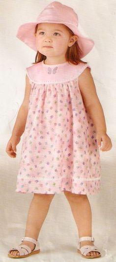 Handmade by Juliana Melo: Ref: 127 - Children's dress template Toddler Girl Dresses, Little Girl Dresses, Girls Dresses, Frocks For Girls, Baby Sewing, Kind Mode, Kids Wear, Baby Dress, Pink Dress