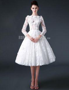 Robe de mariée nouvelle collection manches longue dentelle fleurs [#ROBE2011121] - robedumariage.info