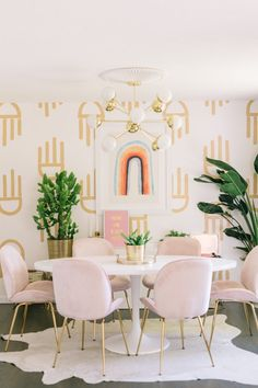 Great Dining Room Colors Ideas To Make Extraordinary Look Geometric Painted Wallpaper Diy A Beautiful Mess intended for ucwords] Pink Dining Rooms, Dining Room Colors, Dining Room Design, Dining Area, Hand Painted Wallpaper, Diy Wallpaper, Painting Wallpaper, Amazing Wallpaper, Geometric Wallpaper