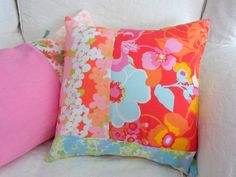 Bright Vintage Floral 1960's and 70's Fabric Patchwork Cushion