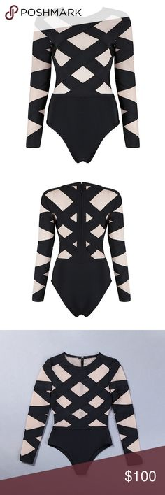 Bandage Mesh Hight Quality Long Sleeve Top Brand Fashion Miami Styles. You can wear it with skirt, shorts, jeans, pants.(BQH2612) Armani Exchange Tops Tees - Long Sleeve