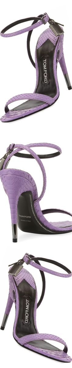 TOM FORD Python Padlock Ankle-Wrap 105mm Sandal, Lilac