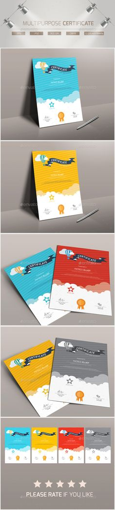162 best Certificate Template Design images on Pinterest     Buy Multipurpose Certificate by CreativvStudio on GraphicRiver   Multipurpose Certificate Flat  modern and multipurpose certificate template