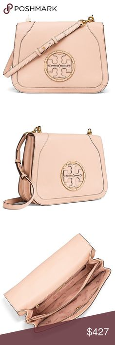 New Tory Burch Shoulder Bag in Light Oak!!  Ladies, ladies, ladies.....let's take a moment to let this stunning bag sink in.   In a chic shade, this bag is simply EXQUISITE!! It's edgy and versatile (simply remove the adjustable strap and use it as a clutch).  It has a magnetic snap closure, an exterior slip pocket and an interior zipper pocket; It is pebbled leather with studs and simply a pleasure to look at . Tory Burch Bags Shoulder Bags