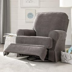 This chair is really comfortable! Dakota Swivel Glider Recliner - Charcoal Velour; $599.99 Babies R Us -  hidden inside handle, reclines to a full layout position