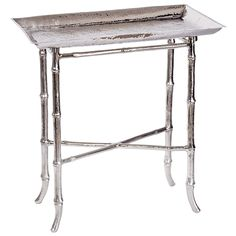 Zinc Door $398 22.75x12.75 x 23.5T  Regina Andrew Nickel Bamboo Tray Table