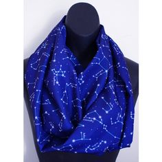 Constellation Night Sky Astronomy Space Scarf Nerd Geek Girl Silky... ($35) ❤ liked on Polyvore featuring accessories, scarves, tube scarf, infinity loop scarves, circle scarves, tube scarves and round scarf