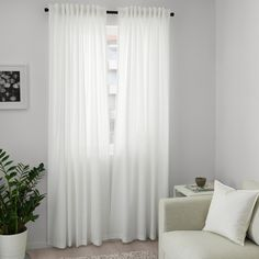 ANNALOUISA Curtains, 1 pair, white, A perfect solution when you want privacy or want to block annoying glares on TV and computer screens. The outside light still comes through and creates a cozy atmosphere in the room. Living Room Decor Curtains, Ikea Living Room, Drapes Curtains, Ikea White Curtains, Bright Curtains, Curtains Without Sewing, Luz Solar, Curtain Length, Deep Seat Cushions