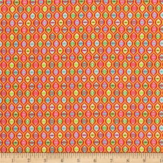 Designed by Tula Pink for Free Spirit Fabrics, this cotton print collection features bright, psychedelic colorways and follows the adventures of an ordinary tabby cat. This print features a bold repeating cateye print. Perfect for quilting, apparel, and home decor accents. Colors include orange, red, shades of green, yellow, and aqua.